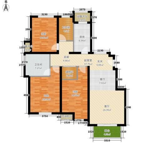保利西塘越3室0厅2卫1厨124.00㎡户型图