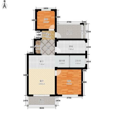伴山蓝庭2室1厅1卫1厨90.00㎡户型图