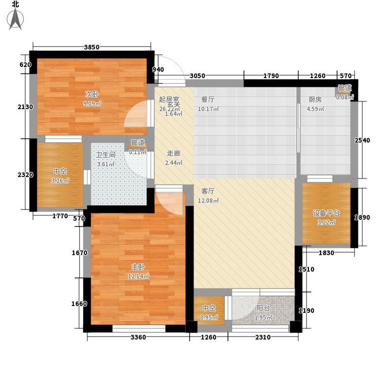联发第五街86.00㎡一期高层22号楼标准层C2户型