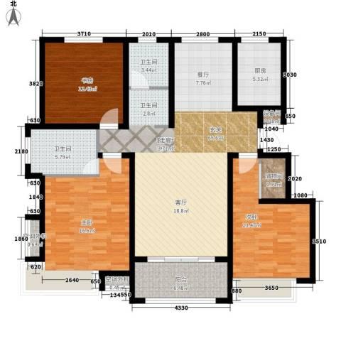 伴山蓝庭3室1厅2卫1厨124.00㎡户型图