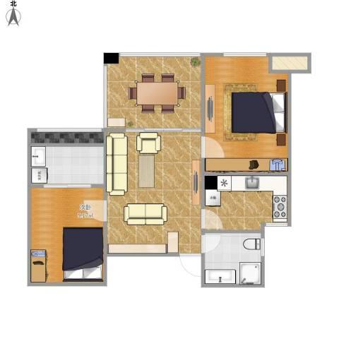 常熟信一景天花园2室2厅1卫1厨83.00㎡户型图