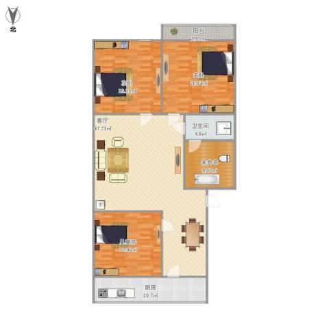 华信花园3室1厅1卫1厨177.00㎡户型图
