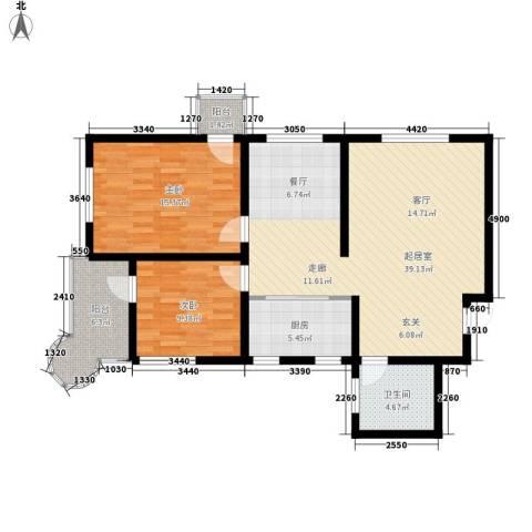 月亮湾2室0厅1卫1厨93.00㎡户型图