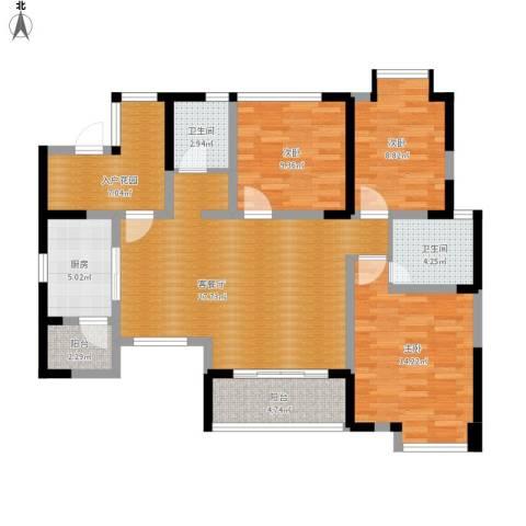 香榭国际3室1厅2卫1厨126.00㎡户型图