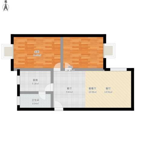金华小区2室1厅1卫1厨78.00㎡户型图