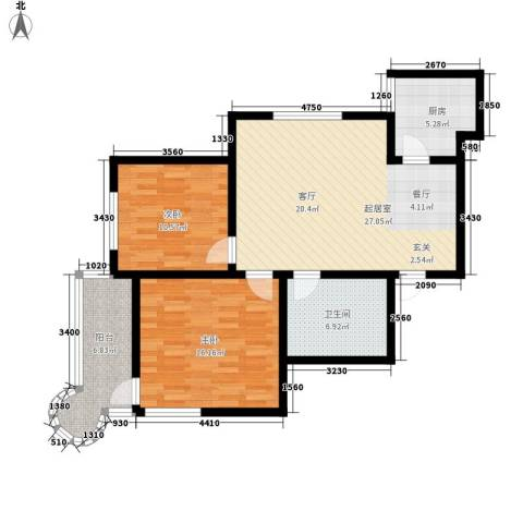 月亮湾2室0厅1卫1厨83.00㎡户型图