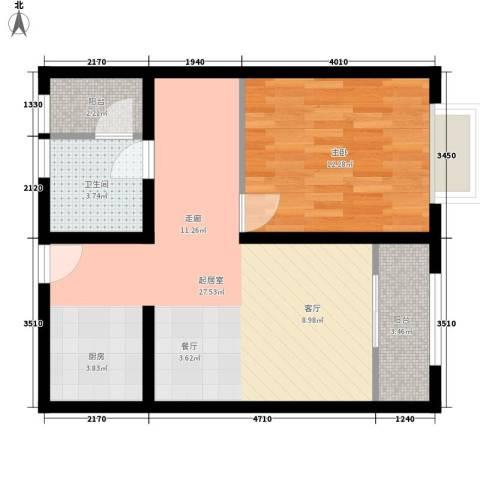 摩登部落1室0厅1卫0厨57.00㎡户型图
