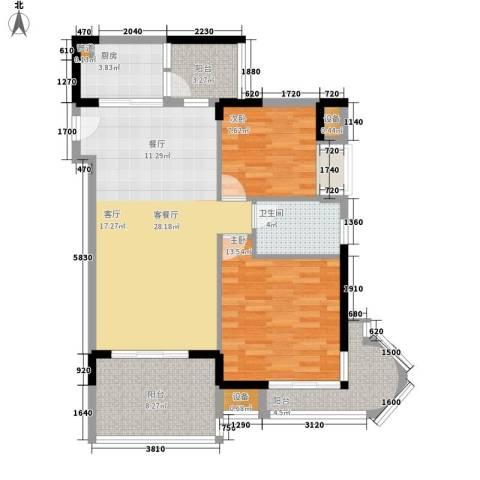 御河观景台2室1厅1卫1厨87.00㎡户型图