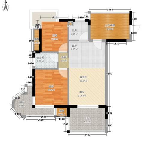 御河观景台2室1厅1卫1厨72.00㎡户型图