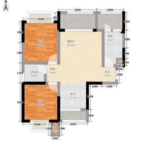 融创御锦2室1厅1卫1厨66.00㎡户型图