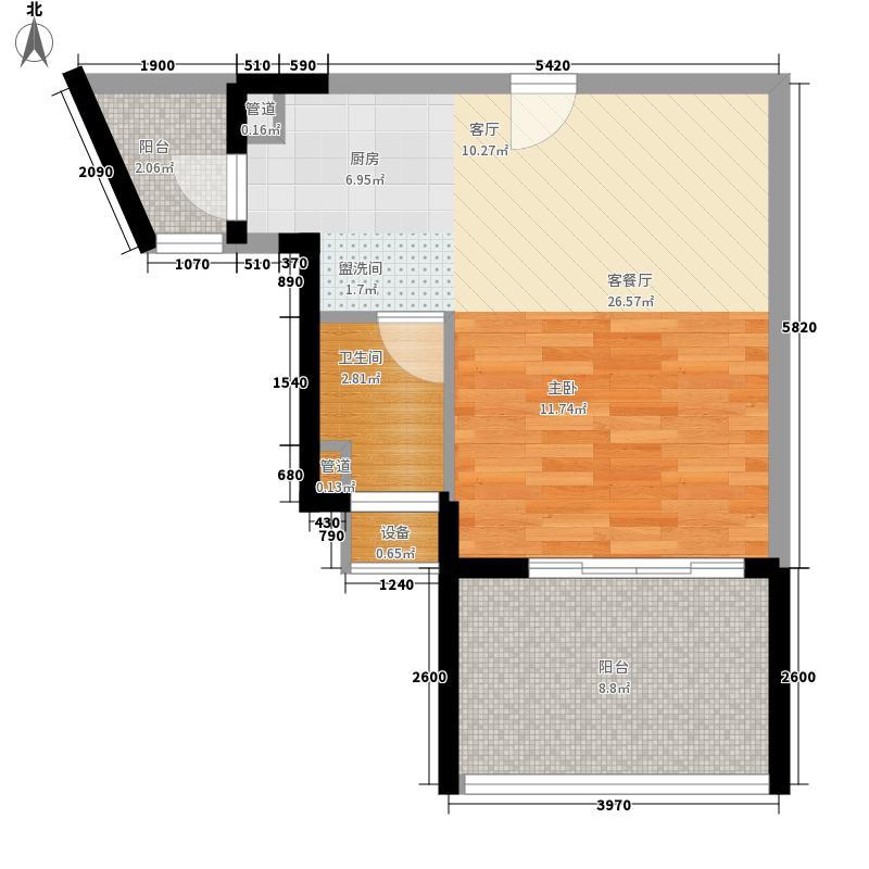 御河观景台46.50㎡5#6#楼A单元03室1室户型