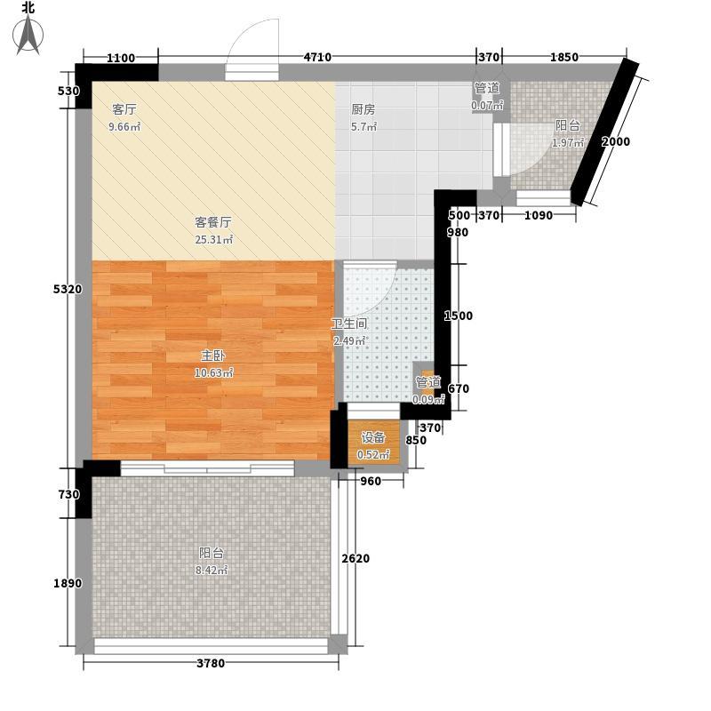 御河观景台44.00㎡5#6#楼A单元05室1室户型