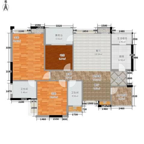 龙湖水晶郦城四组团3室0厅2卫1厨125.00㎡户型图