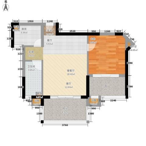 御河观景台1室1厅1卫1厨58.00㎡户型图