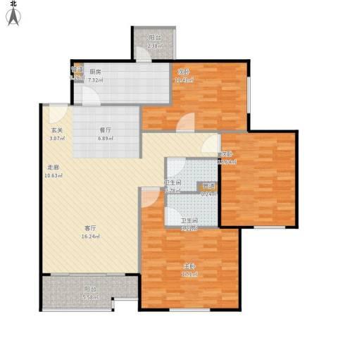 北苑家园莲葩园3室1厅2卫1厨136.00㎡户型图