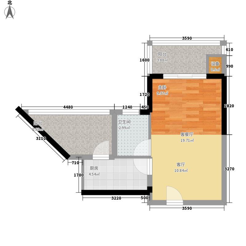 御河观景台44.90㎡5#6#楼A单元04室1室户型