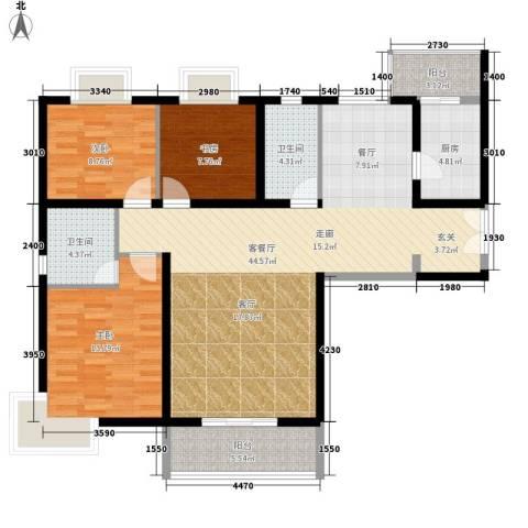鑫龙天然居3室1厅2卫1厨138.00㎡户型图