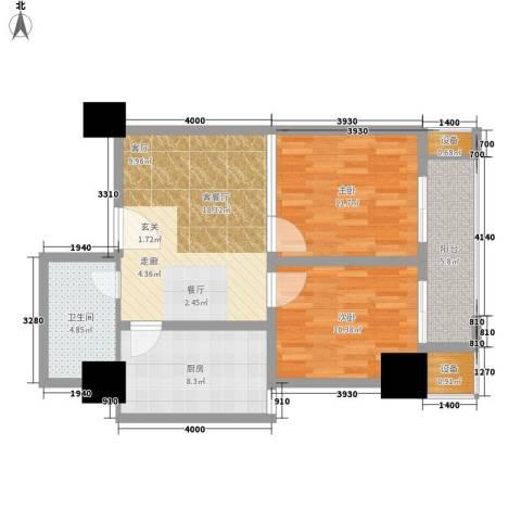 尚书房2室1厅1卫1厨73.00㎡户型图