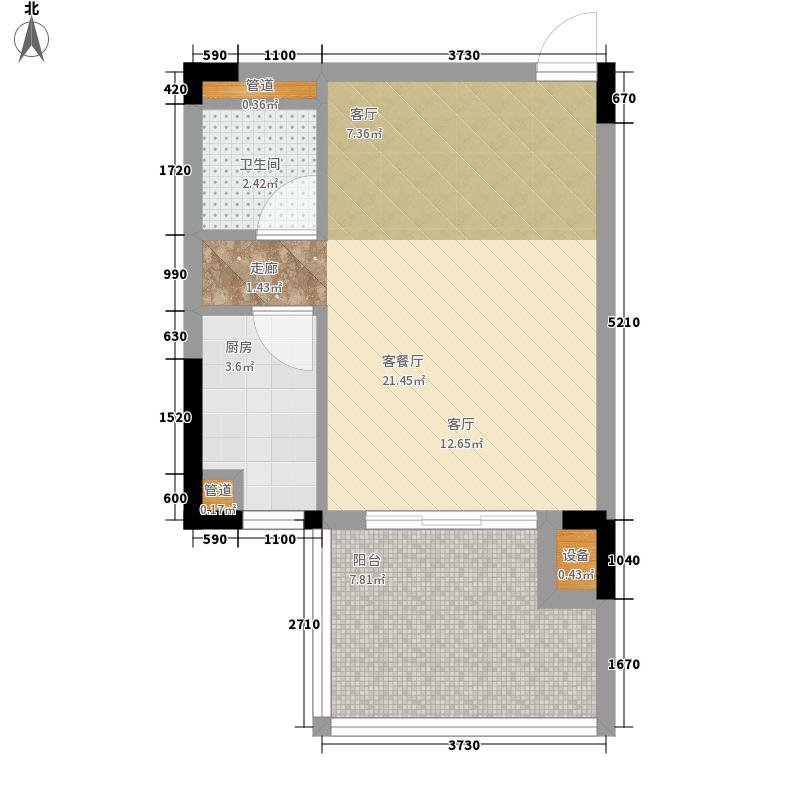 御河观景台42.60㎡5#6#楼A单元06室1室户型