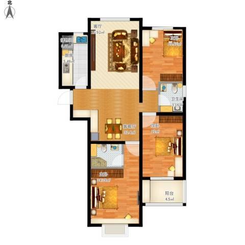 呈祥紫园3室1厅2卫1厨122.00㎡户型图