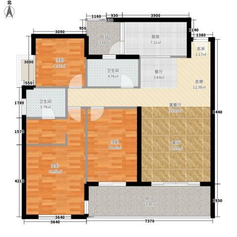 鑫龙天然居3室1厅2卫1厨121.00㎡户型图