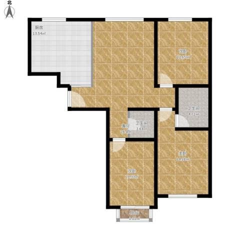 盛唐府邸3室1厅2卫1厨121.00㎡户型图