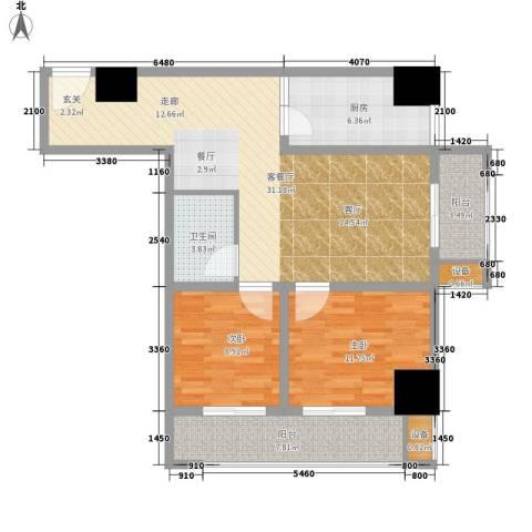 尚书房2室1厅1卫1厨87.00㎡户型图