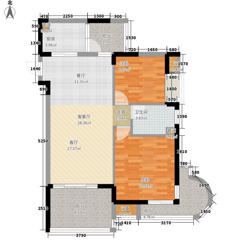 御河观景台85.40㎡5#6#楼A单元02室2室户型