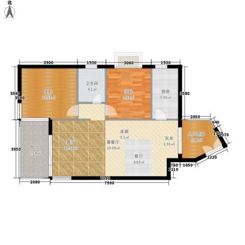 鑫龙天然居2室1厅1卫1厨87.00㎡户型图