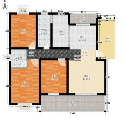 嘉恒・格林恬园3室1厅2卫1厨163.00㎡户型图