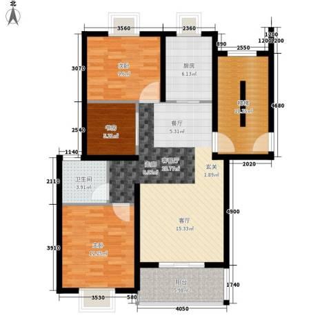 嘉恒・格林恬园3室1厅1卫1厨116.00㎡户型图
