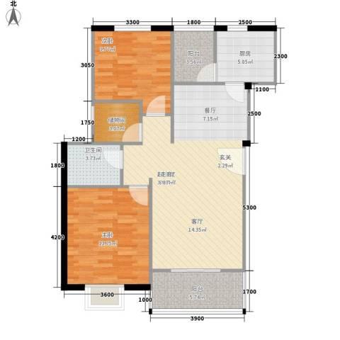东新城市家园2室0厅1卫1厨96.00㎡户型图