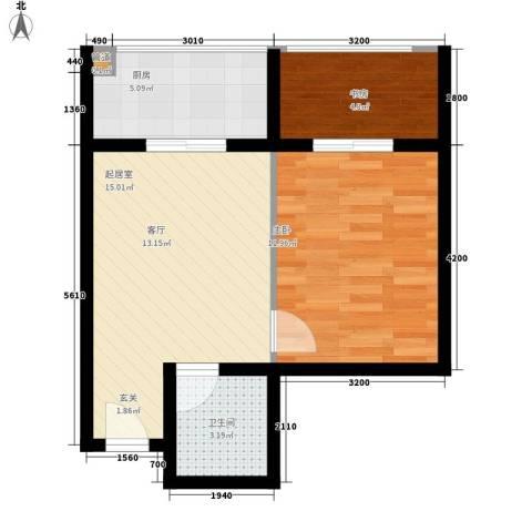 水滴Uhome2室0厅1卫1厨53.00㎡户型图