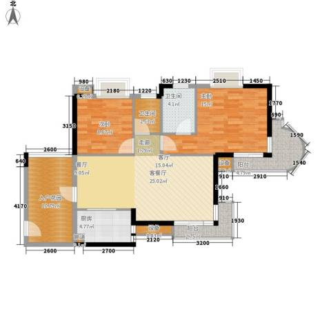 御河观景台2室1厅2卫1厨93.00㎡户型图
