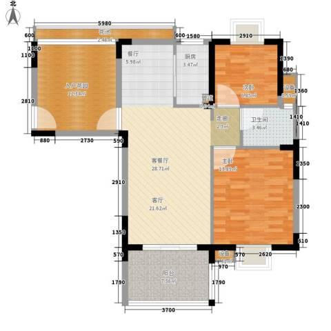 御河观景台2室1厅1卫1厨91.00㎡户型图