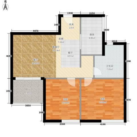 鑫龙天然居2室1厅1卫1厨86.00㎡户型图