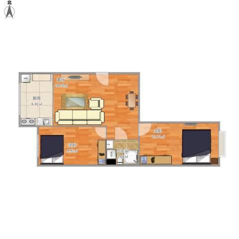 叠翠山庄2室1厅1卫1厨67.00㎡户型图
