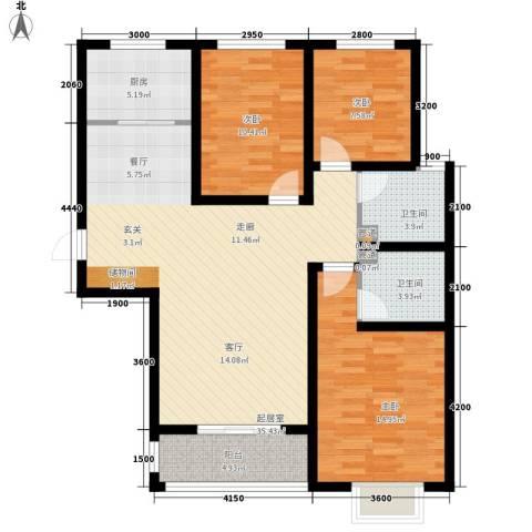 紫御华府3室0厅2卫1厨124.00㎡户型图