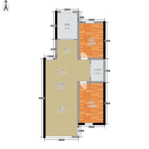 万宏・自在成2室0厅1卫1厨96.00㎡户型图