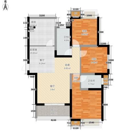 中天花园3室0厅2卫1厨124.00㎡户型图