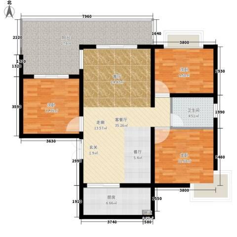 鑫龙天然居3室1厅1卫1厨110.00㎡户型图