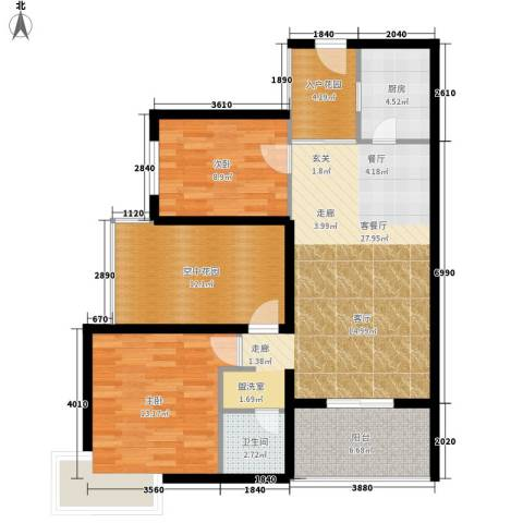 鑫龙天然居2室1厅1卫1厨97.00㎡户型图