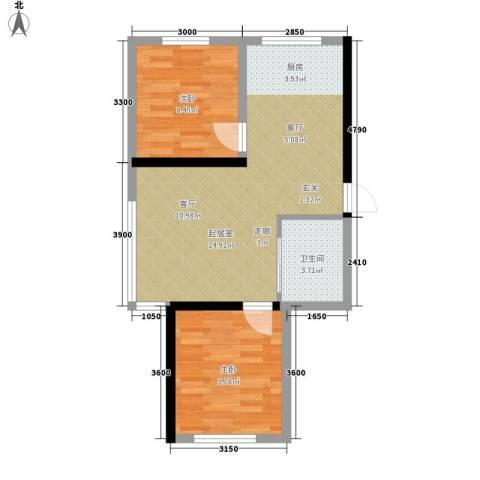 万宏・自在成2室0厅1卫0厨65.00㎡户型图