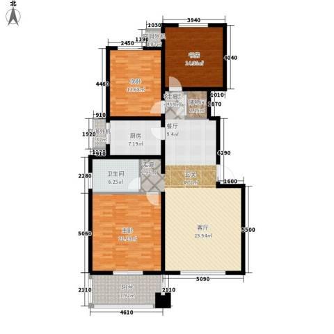 紫薇龙腾新世界3室1厅1卫1厨135.00㎡户型图