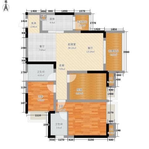 东海滨江城2室0厅2卫1厨120.00㎡户型图