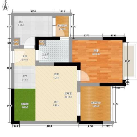 东海滨江城1室0厅1卫1厨70.00㎡户型图
