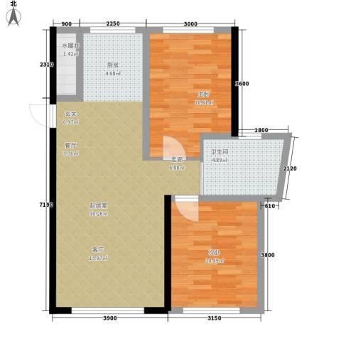 万宏・自在成2室0厅1卫0厨77.00㎡户型图
