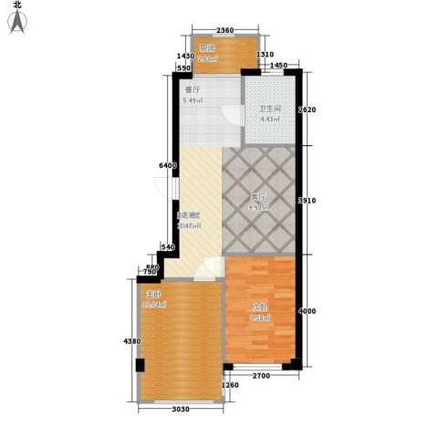 东盛澳景园2室0厅1卫1厨72.00㎡户型图