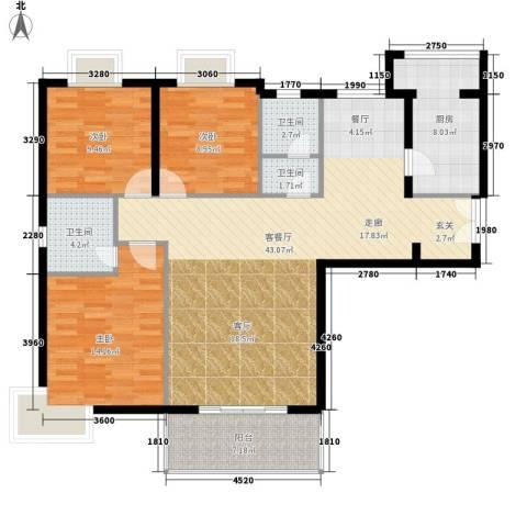 鑫龙天然居3室1厅3卫1厨139.00㎡户型图