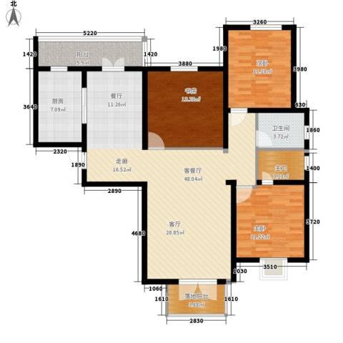 城市花园3室1厅1卫1厨147.00㎡户型图